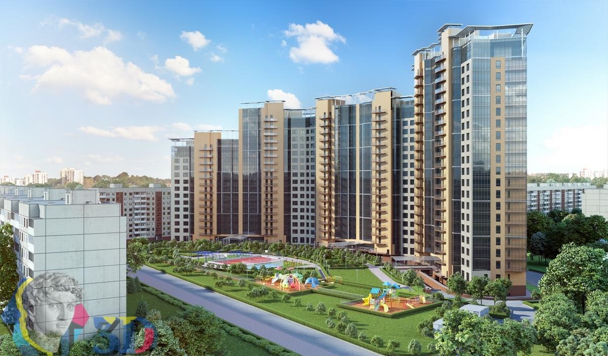 фотореалистичная 3d визуализация двора жилого комплекса