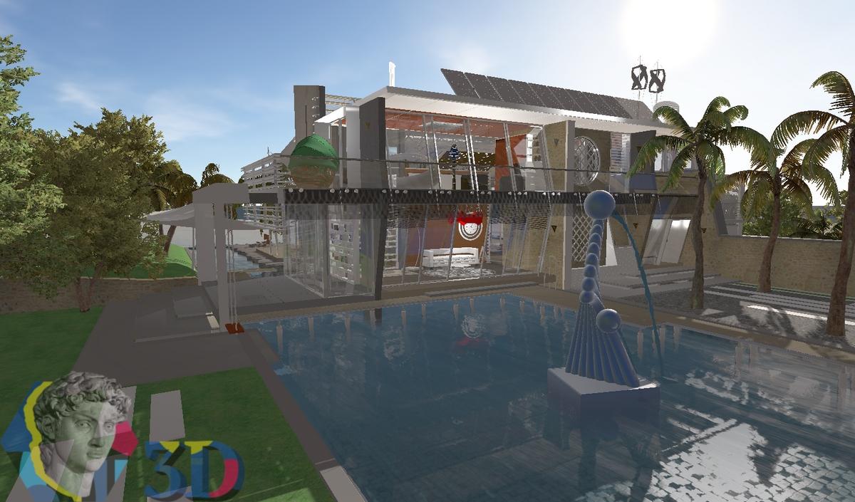 Трехмерное моделирование экстерьера виллы и пространства дворика с бассейном
