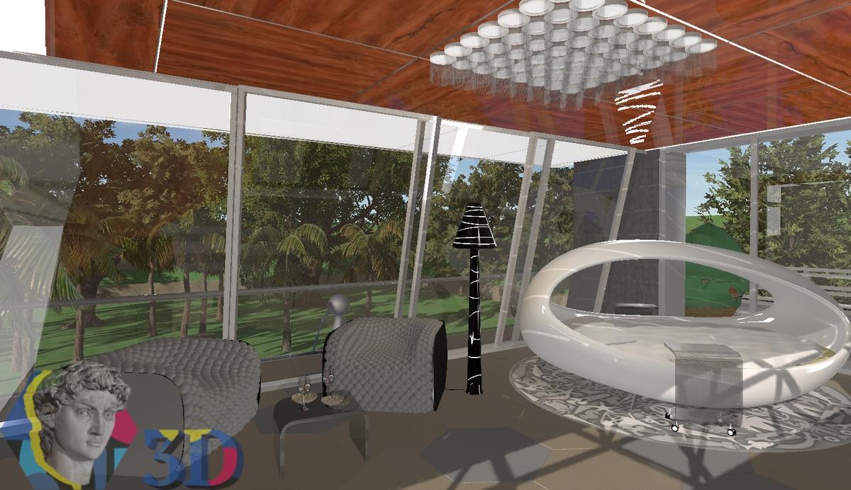 3d моделирование интерьера квартиры и отдельных элементов мебели в зоне отдыха