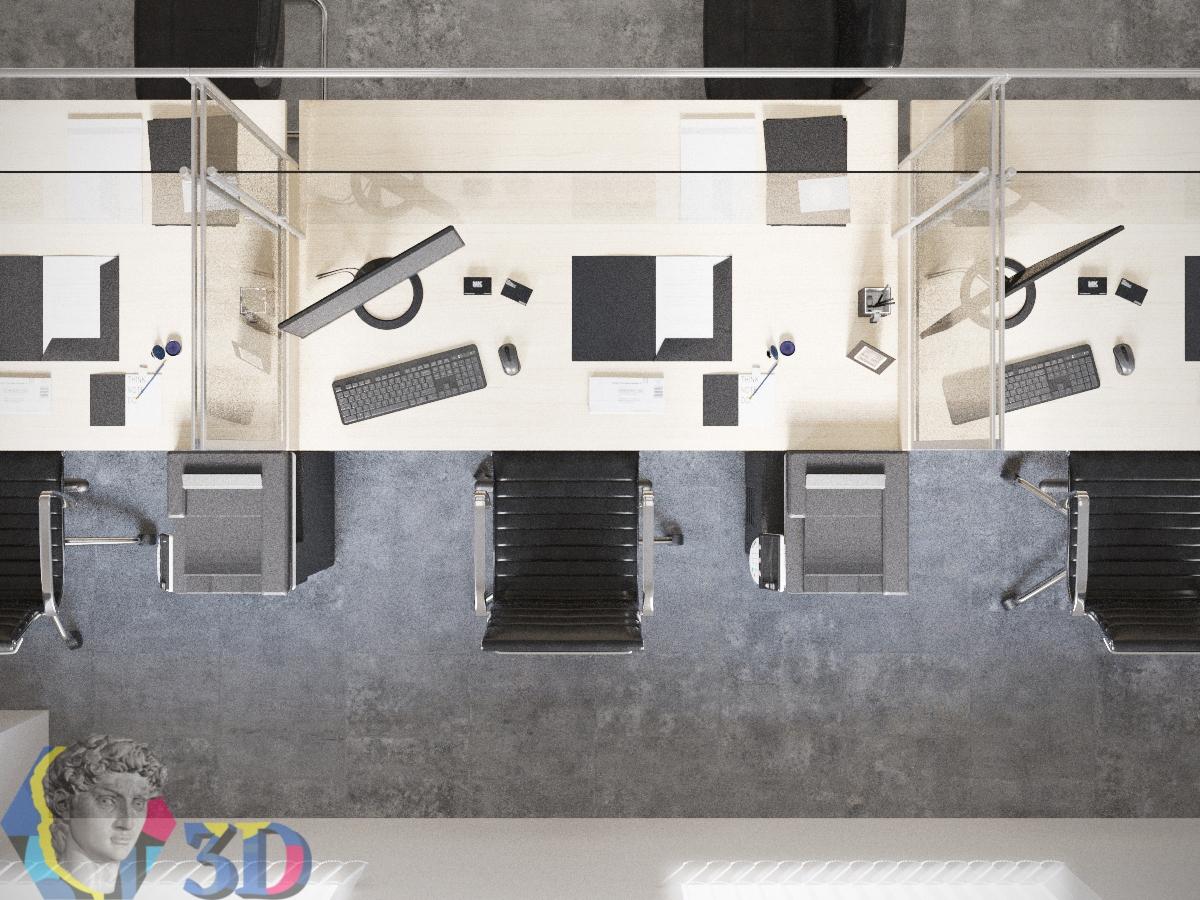 3d визуализация рабочего места сотрудника: вид сверху