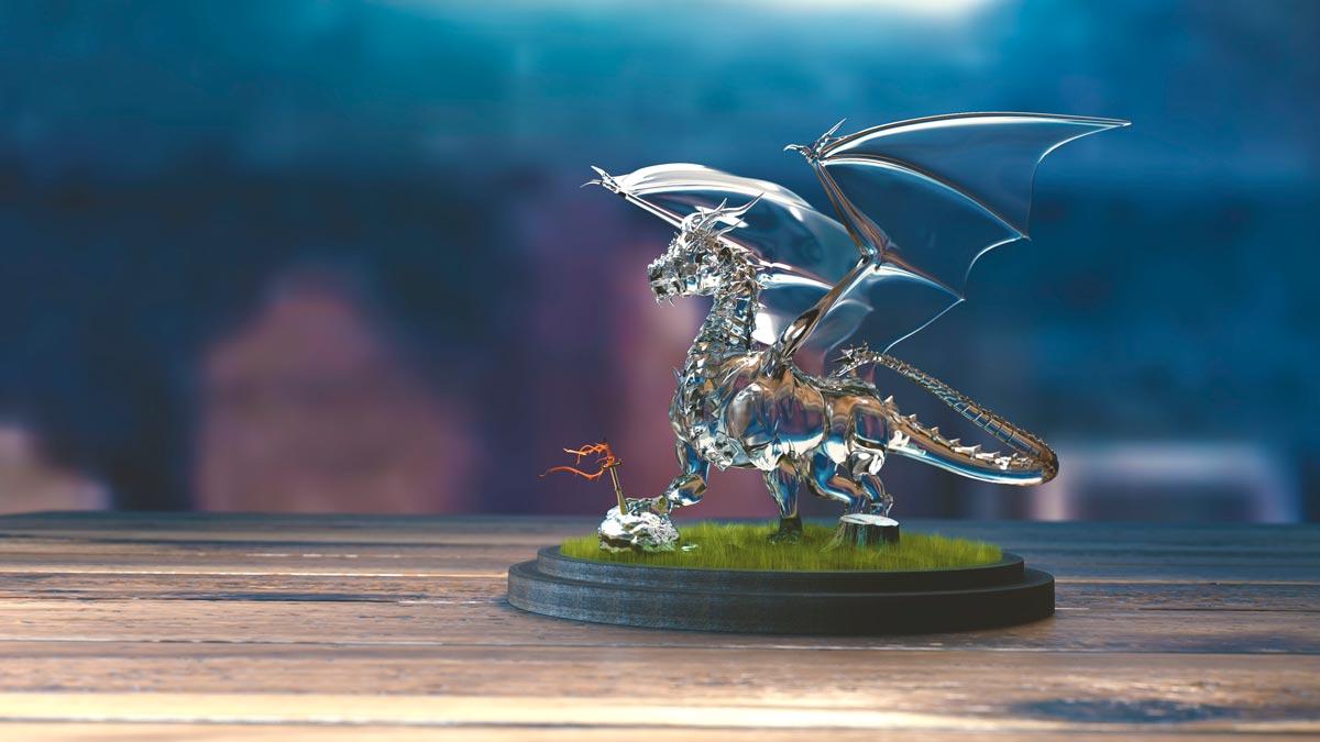 3D визуализация фигурки стеклянного дракона
