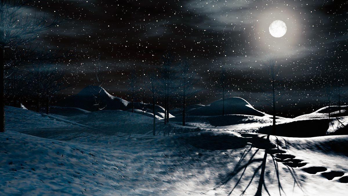 Визуализация ландшафта в 3d max: ночная зима