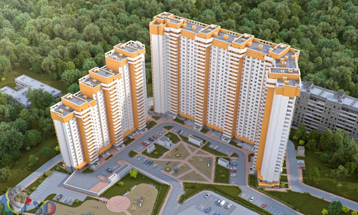 3д визуализация жилого комплекса и его двора