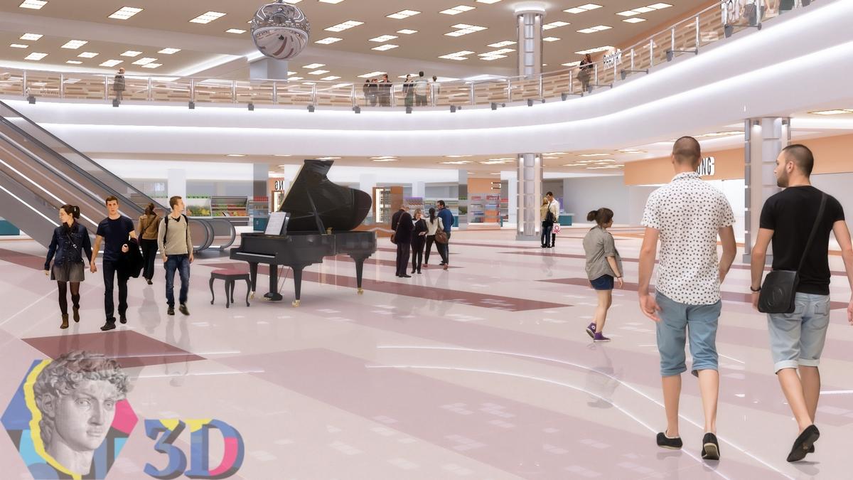 Профессиональная визуализация интерьера торгового центра
