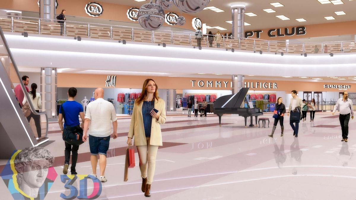 3d визуализация интерьера торгового центра