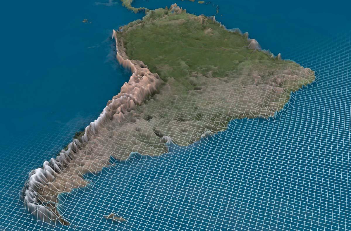 3d визуализация ландшафта Южная Америка
