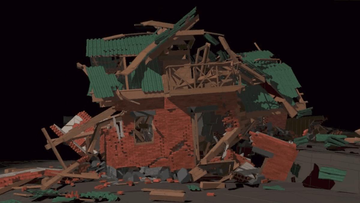визуализация последствий землетрясения